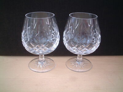 Pair of Old Fashioned Edinburgh Crystal Brandy Glasses/Balloons. Lomond Pattern.