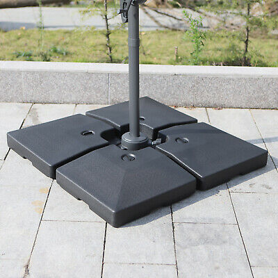 Outsunny 4PC Garden Parasol Base Heavy Duty Banana Cantilever Umbrella Weights