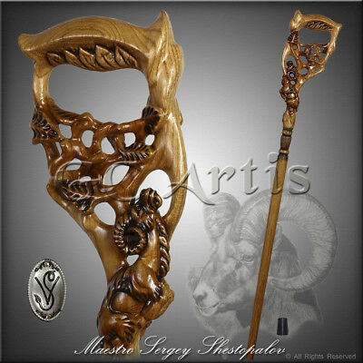 Unique Hand carved Walking Stick Cane Hiking Staff Wooden Handle Handmade Ram