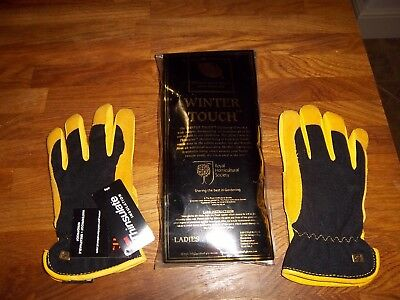 Royal Horticultural Society 'Winter Touch' ladies leather gardening gloves S/M