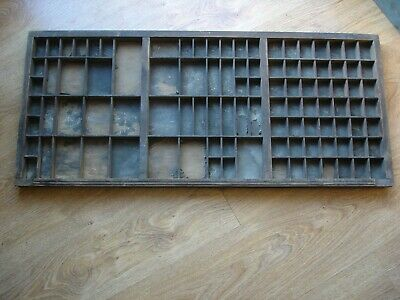 Vintage Wooden Printers TYPE CASE Drawer Tray Wall Display Letterpress Old