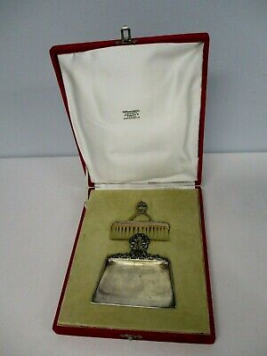 ANTIQUE RUSSIAN GRACHEV SILVER TABLE CRUMBER with BRUSH in ORIGINAL VELVET CASE