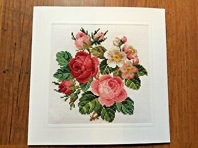 EX LGE COMPLETED/FINISHED CROSS STITCHED CARD--ROSES(8x8)