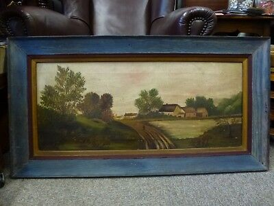 Large Old framed Antique Countryside Farm Landscape oil painting on canvas Art