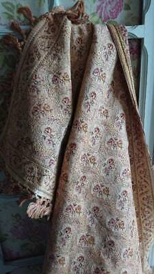 DELICIEUX ANTIQUE FRENCH TAPESTRY PORTIERE PELMET pr MANTLEPIECE RUNNER c1900