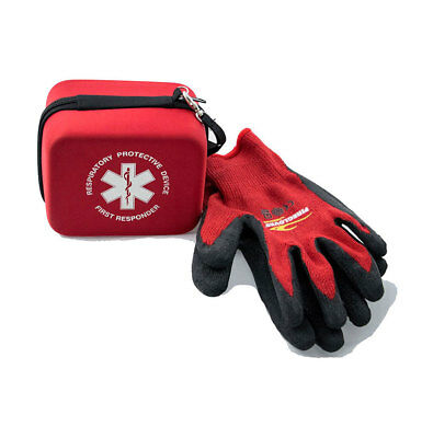 Fire mask smoke hood and Fire gloves - escape a fire with 1 hour of filtered air
