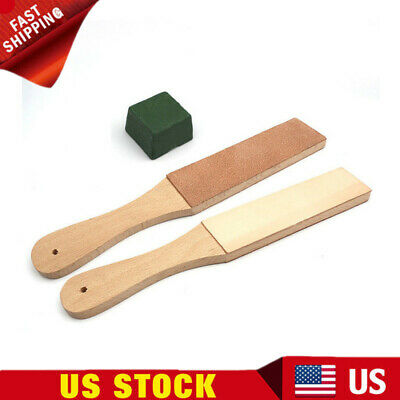 1 Set Wooden Handle Double Sided Leather Craft Blade Strop Knife Razor Sharpener