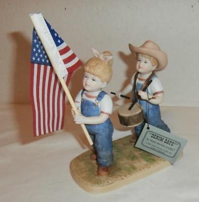 """1997 Homco Denim Days #1530 """"fourth Of July"""" Figurines With Tag"""