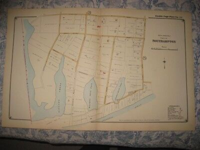 Antique 1916 Southampton Carnegie Home Suffolk County New York Handcolored Map