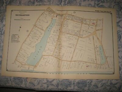 Antique 1916 Southampton Southeast Part Suffolk County New York Handcolored Map