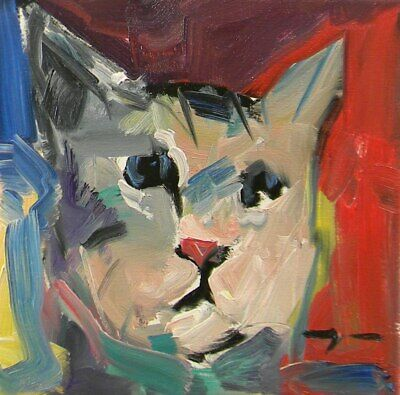 """JOSE TRUJILLO Oil Painting ABSTRACT FAUVISM CAT PORTRAIT 10"""" SQUARE CANVAS NR"""