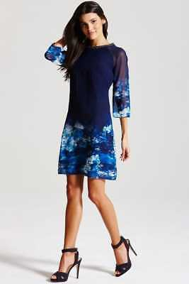 a08fa3a15341 Bnwt Little Mistress Blue Floral Embellished Tunic Dress Size 10 Rrp £73