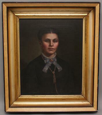 Antique 19thC Victorian Period Young American Woman Portrait Oil Painting, NR