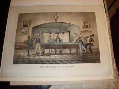 Rare Large Folio Currier & Ives Folio Print 1869: The Beauties Of Billiards