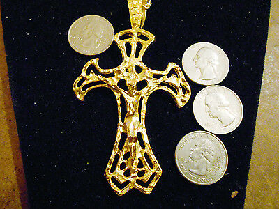 bling gold plated jesus cross CRUCIFIX fashion PENDANT charm necklace jewelry gp