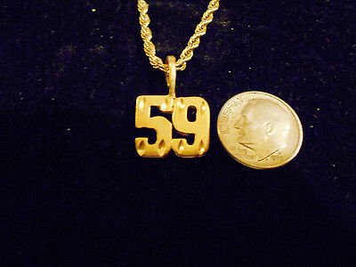 bling gold plated sports player number 59 fashion pendant charm necklace JEWELRY
