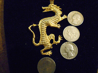 bling gold plated myth stonehenge legend dragon pendant charm hip hop necklace