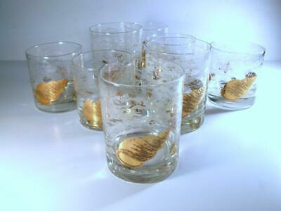 Georges Briard MCM Shell & Surf Double Old Fashioned Set of 4 & Rocks Set of 4