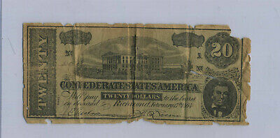 Antique Confederate Currency $20 1864 Alliance OH Coal Stove Advertising Note