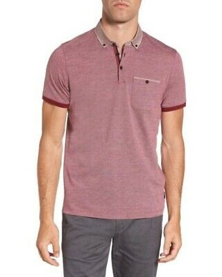 817832c7619531 TED BAKER LONDON Mens Leeds Oxford Modern Slim Fit Polo Size 4 Large ...