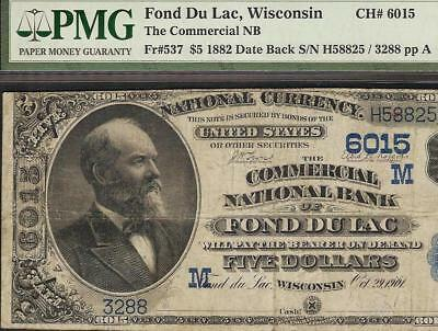 1882 $5 Dollar Fond Du Lac Wisconsin National Bank Note Large Currency 6015 Pmg