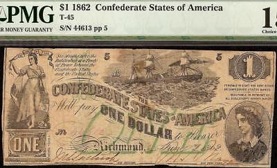 1862 $1 Dollar Bill Confederate States Currency Civil War Note Green T-45 Pmg