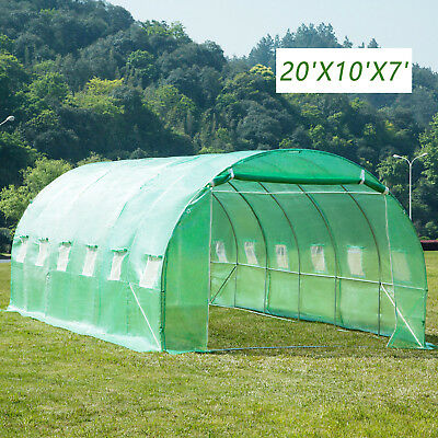 20'x10'X7' Super Huge Greenhouse Walk-In Polytunnel Steel Frame Dome w/ Cover