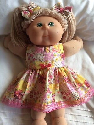 "DOLLS CLOTHES - DRESS & BOWS to fit 16"" CABBAGE PATCH ~ Pink Yellow Patchwork"