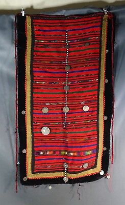 Antique Bulgarian Folk Costume Woven Wool Apron Ottoman Coin Metallic Embroidery