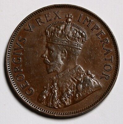 1935 South Africa Penny Coin KM# 14.3 Hern# S95