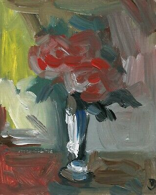 226.Pink Roses Flowers in Vase Original Oil Painting Floral Art AMAZINGARTIST