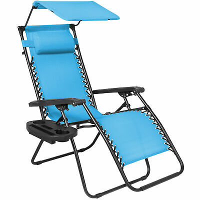 Light Blue Folding Zero Gravity Lounge Chair W/ Canopy & Magazine Cup Holder-