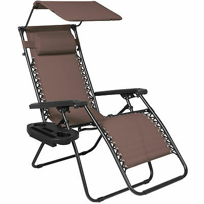 Holder-Brown Folding Zero Gravity Lounge Chair W/ Canopy & Magazine Cup