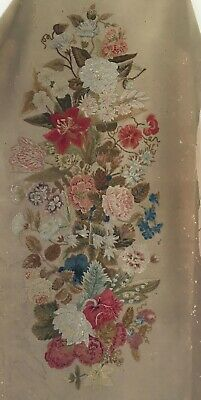 Old Floral Wool Embroidery Panel. Crewel.  Lovely but damaged.