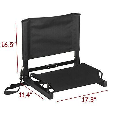 Stadium Seat Black Bleacher Football Comfortable Watching Game W/ Stable Hook
