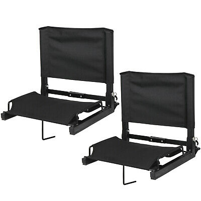2 Pcs Stadium Seat Black Bleacher Gym Comfortable Watching Game W/ Stable Hook