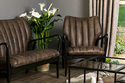 Leather Mid Century Style Armchair Retro Vintage Style 2 Colours Chestnut Brown