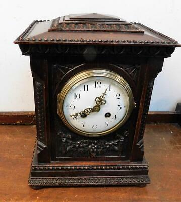 french carved oak bracket clock c1900s
