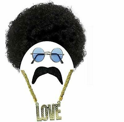 Mens Hippy Hippie Afro Wig Glasses Tash Chain 70S Fancy Dress Costume Stag Night