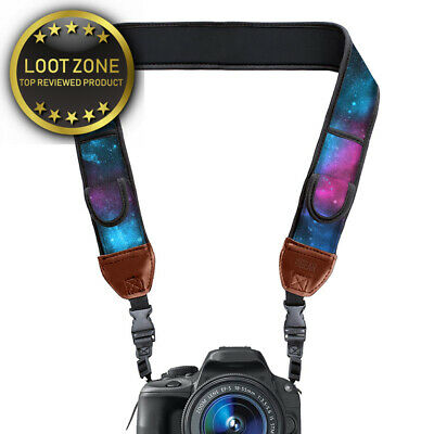 DSLR Camera Neck Strap with Galaxy Neoprene Design and Quick Release Buckles...