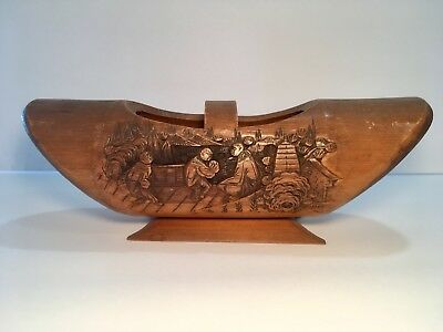 Antique Unique Wood ASIAN Carved Basket /Bowl