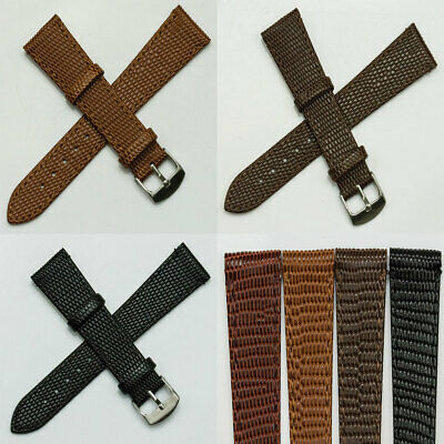 Lizard grain on genuine leather watch strap QUALITY black tan brown 12mm - 22mm