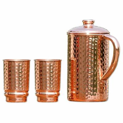 Pure Copper Hammered Water Jug With 2 Hammered Copper Tumbler Pitcher Ayurveda