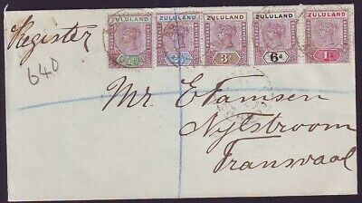 ZULULAND SUPERB REGISTERED COVER to TRANSVAAL