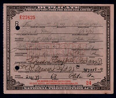 Prohibition Whiskey Booze Prescription Old Doctor Lewis Pharmacy Bar PA 1928 Day