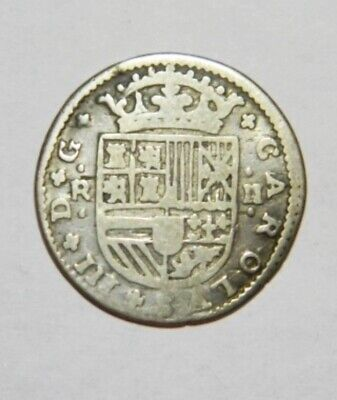rarity coin Spain 2 real silver 1710 year 17 century Carl 3 of time