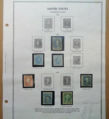 Lot of 7 Confederate Postage Stamps 1862 and 1863