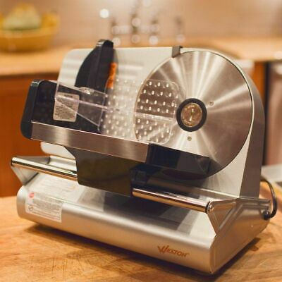 """Commercial Electric Meat Food Slicer Steel Cheese Cutter Kitchen Tool 7.5"""" Blade"""