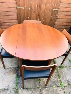 Mid Century  Teak Veneer Drop Leaf Table and 4 Leatherette  Chairs