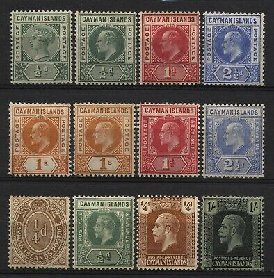 Cayman Islands Collection 12 Early Stamps Mounted Mint
